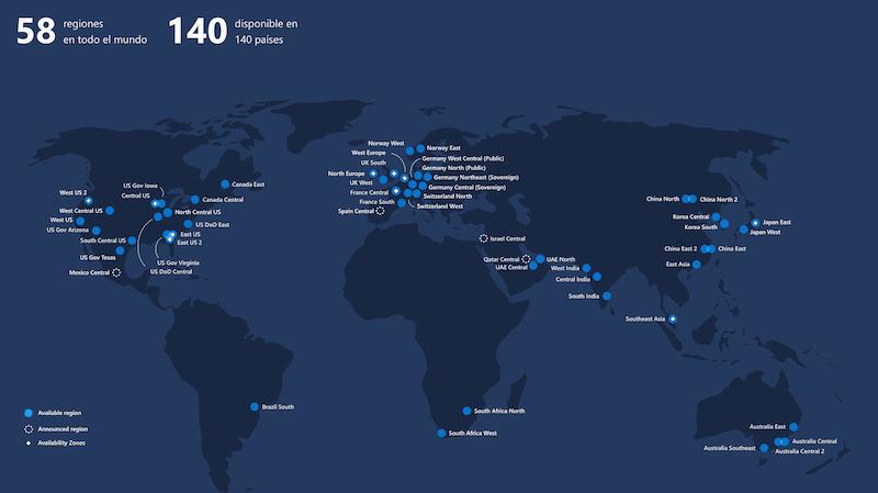 Las Regiones de Microsoft Azure en abril de 2020