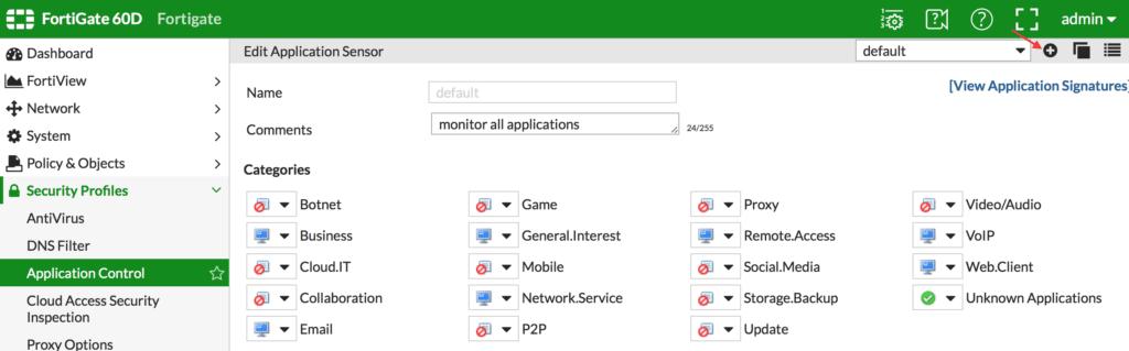 Creando un Application sensor es el primer paso para configurar este módulo de application control. Módulo Application Control de Fortigate