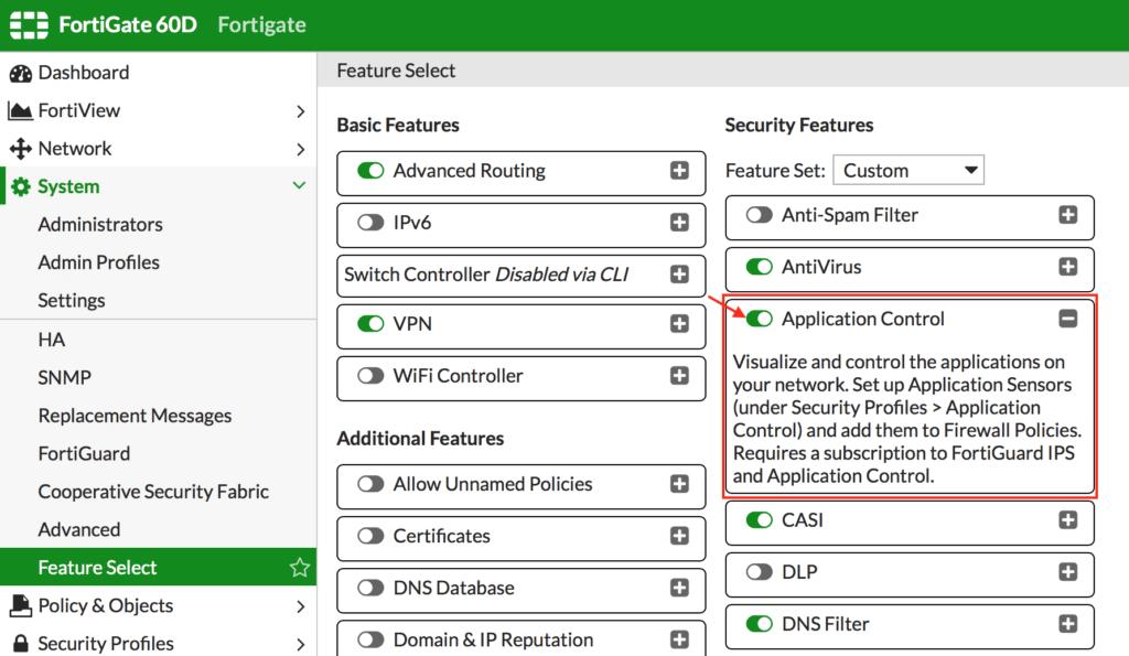 activar el módulo de Application Control en Fortigate. Módulo Application Control de Fortigate