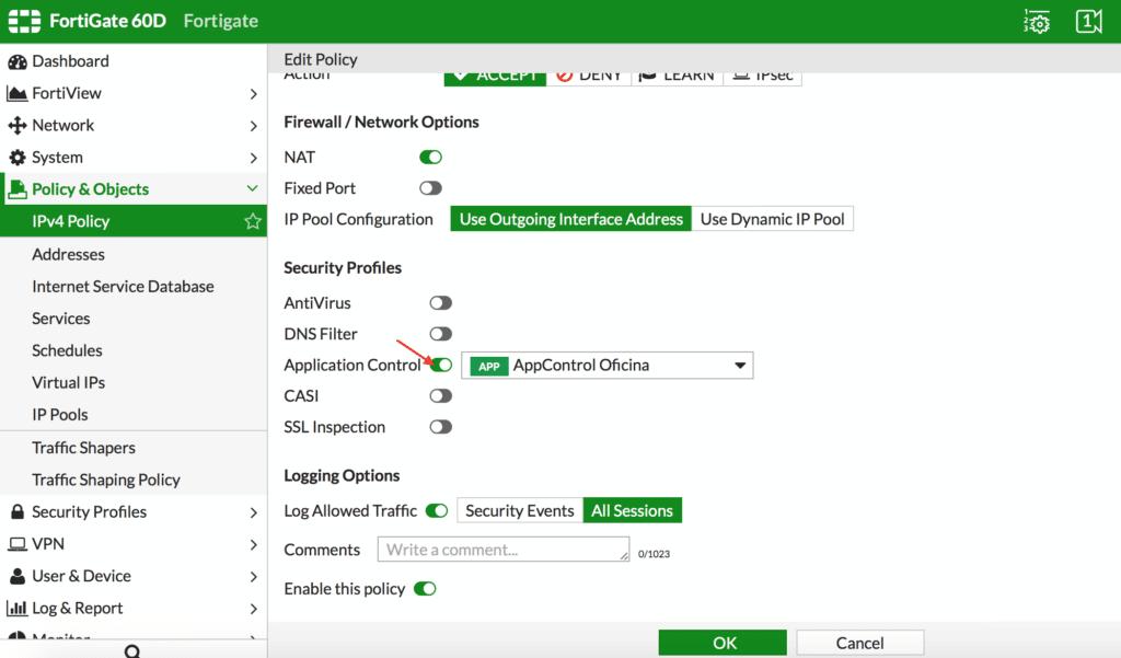 IPv4 Policy en Fortigate. Módulo Application Control de Fortigate