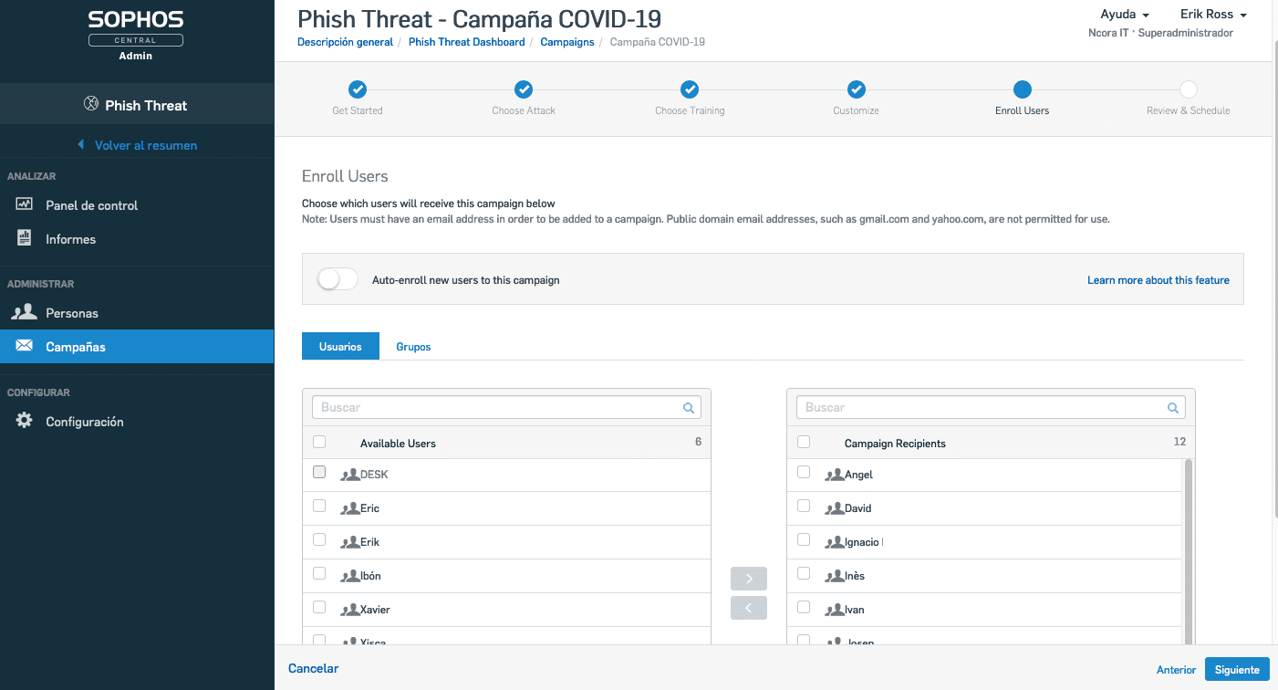 Phish Threat seleccionar usuarios