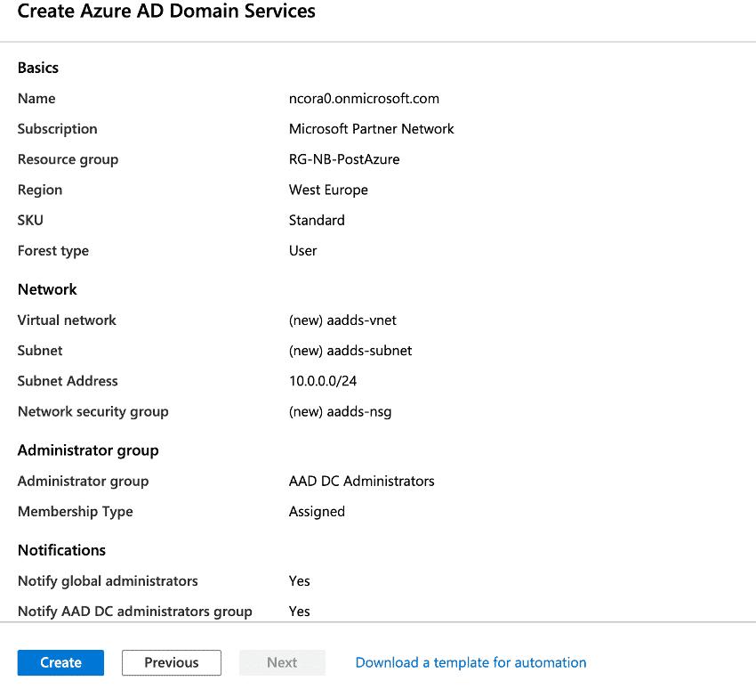 Create Azure AD Domain Services