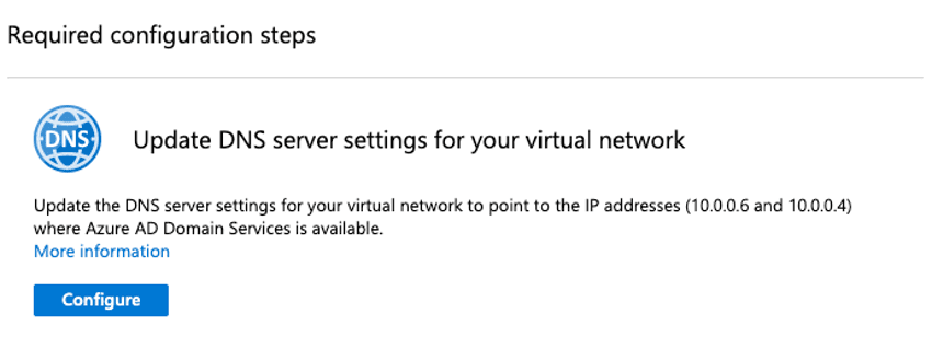 Update DNS Server Settings for your virtual Network en Azure AD Domain Services.