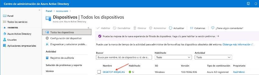 Visualización en el portal de Azure del dispositivo añadido.
