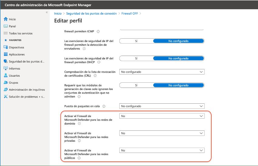 Desactivar el Firewall de Windows con Intune y Ncora