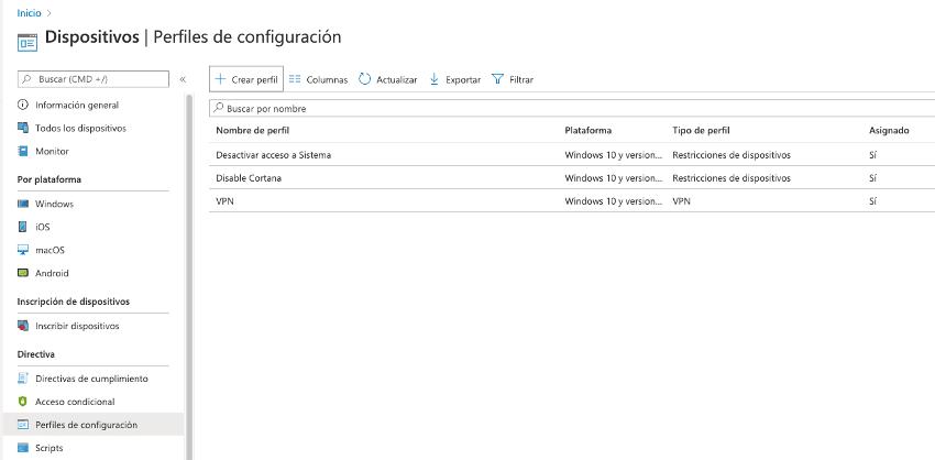 Configuración y restricciones en equipos registrados de Intune - Ncora