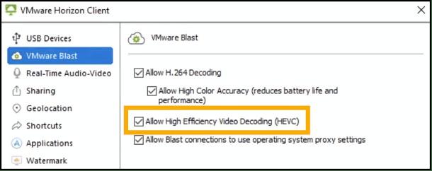 Novedades de VMware Horizon 8 - HEVC