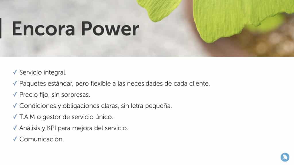 Características de los servicios gestionados Encora Power